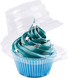 Cupcake Boxes, 50 PCS Single Compartment Individual Cupcake Containers, Disposable Stackable Cupcake Holder, Deep Dome, Clear Plastic, BPA-Free, Special Cupcake Boxes Individual for Holiday Party