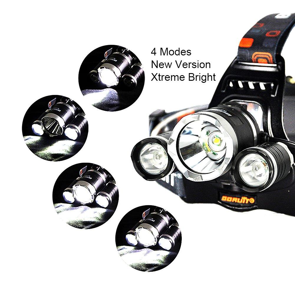 Ultra Bright Cree Led Headlight 5000 Lumen 4 Modes Head Torch T6 High Power Headlamp Xm L Lumens Black Rechargeable