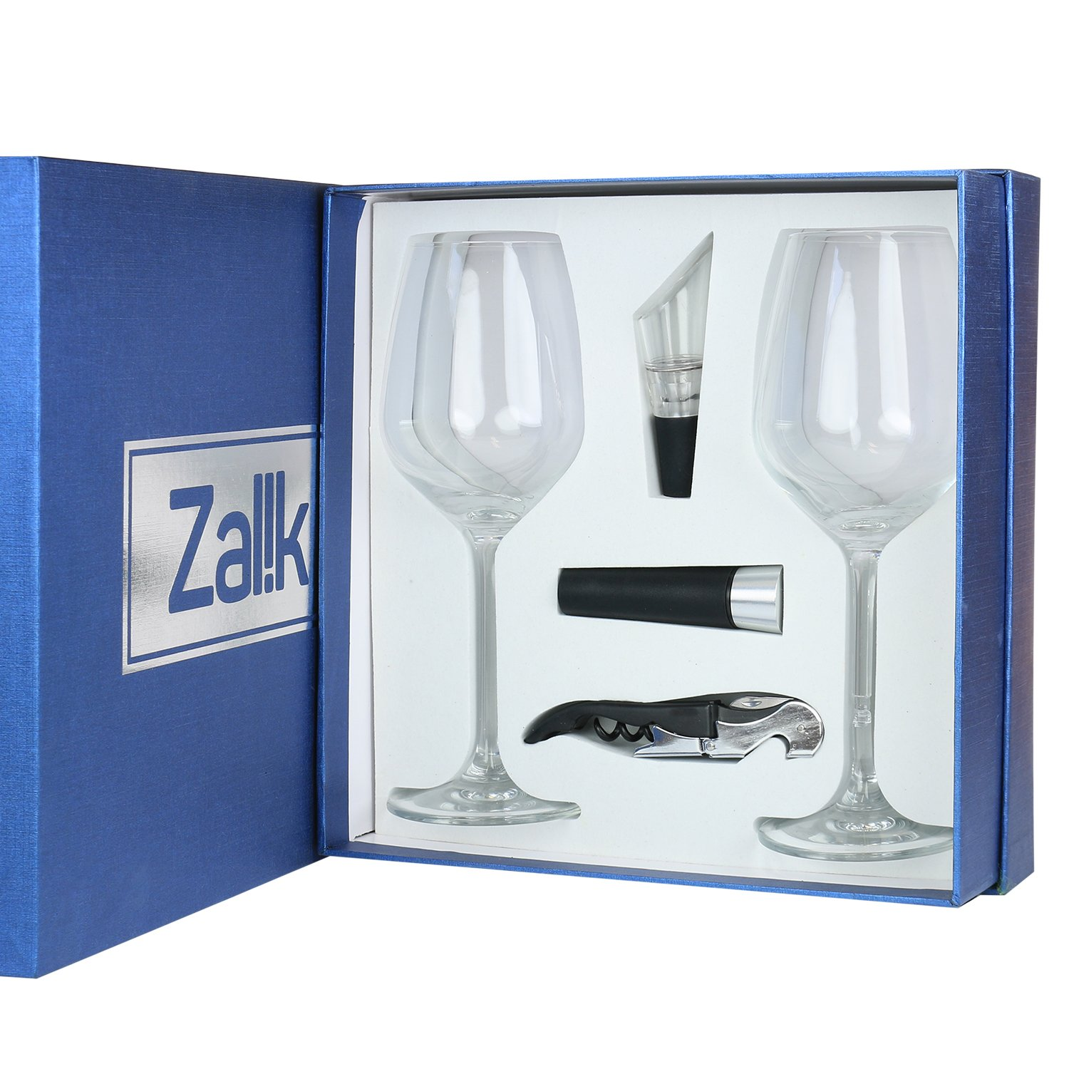 Zalik Wine Glasses Gift Set - Set Of 2 Wine Glasses, Wine Opener, Wine Stopper And Wine Aerator Pourer For Enhanced Flavor - Perfect Gift For Every Occasion - Wine Accessories - Elegant Gift Box by Zalik (Image #2)
