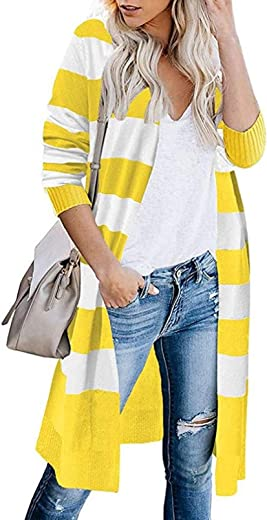 HEFASDM Women's Open Front Knit Long Sleeves Mid-Length Striped Sweater Cardigan