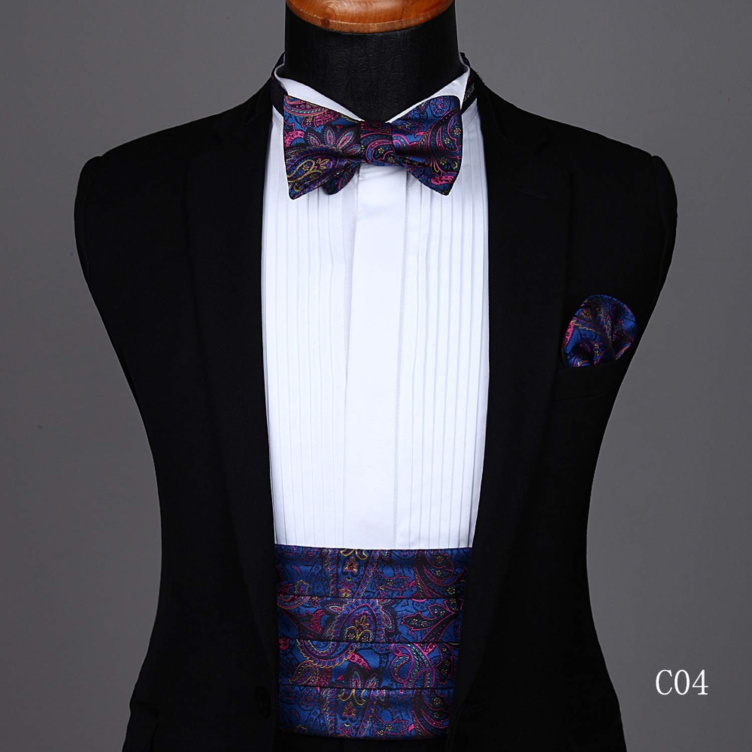Party wedding Mens Formal Flower Solid Bow Tie /& Pocket Square Set
