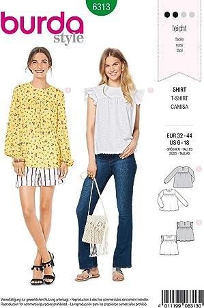 Burda 6313 - Patrón de Costura para Blusa de Mujer 32-44 para ...