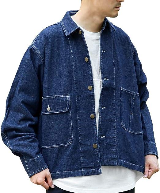 (アークティックプラント) Arctic Plant メンズ 綿100% デニム ビッグシルエット カバーオール ショート丈 ジャケット