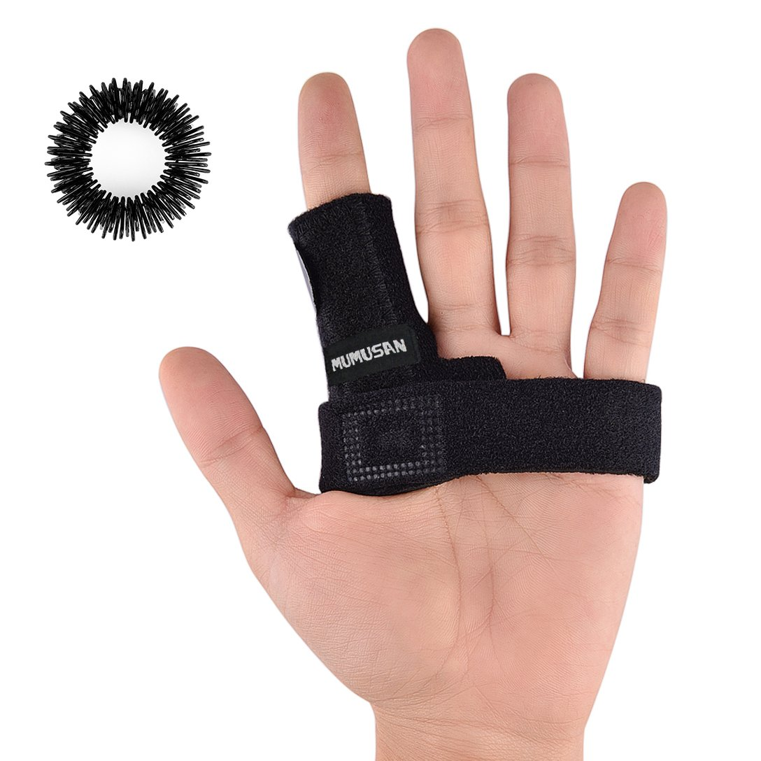 MUMUSAN Finger Extension Splint for Trigger Finger, Acupressure Massage Rings, Pain Relief from Stenosing Tenosynovitis, Finger splints braces For arthritis, Wounds, Malleable Metallic hand splint fin by MUMUSAN (Image #1)