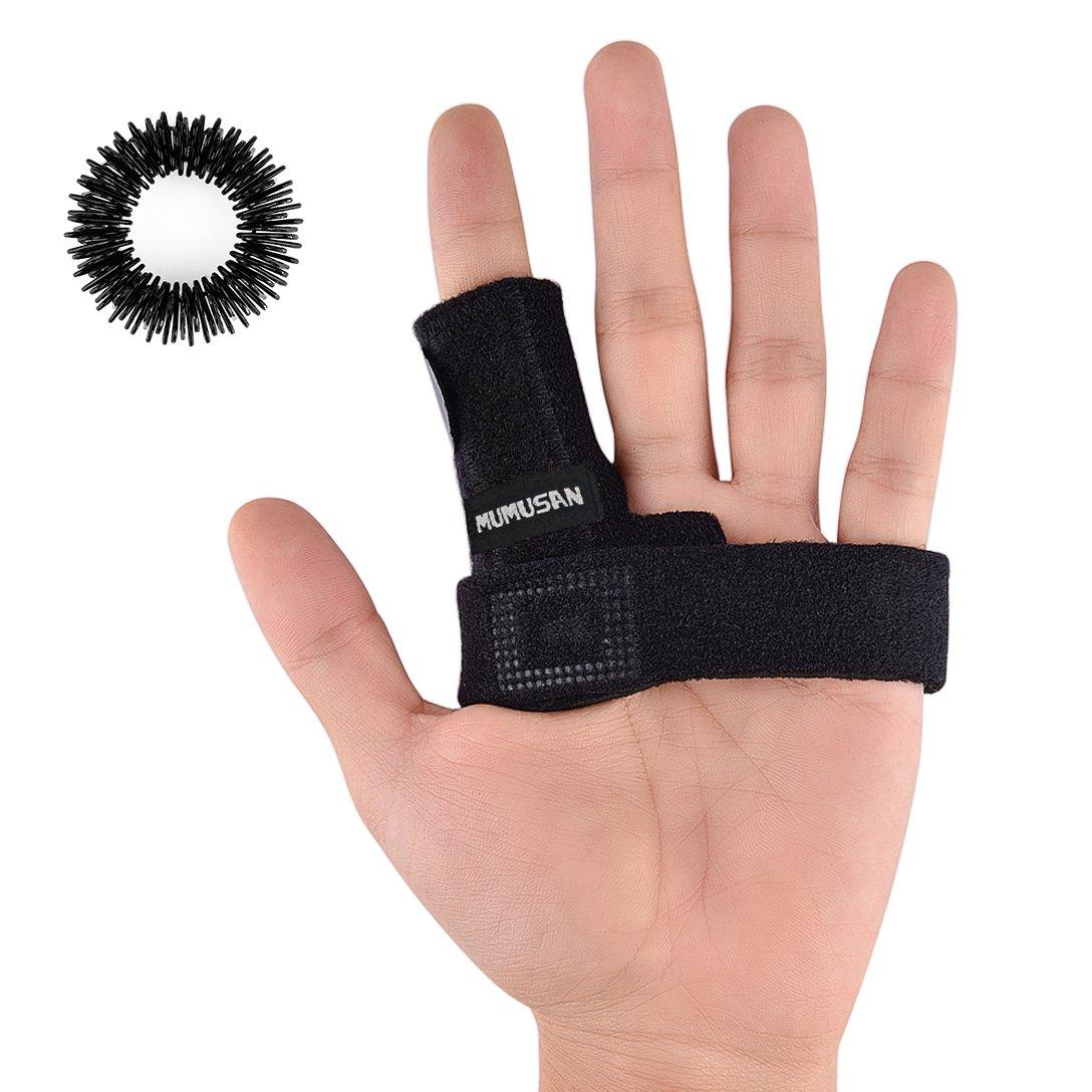 MUMUSAN Finger Extension Splint for Trigger Finger, Acupressure Massage Rings, Pain Relief from Stenosing Tenosynovitis, Finger splints braces For arthritis, Wounds, Malleable Metallic hand splint fin