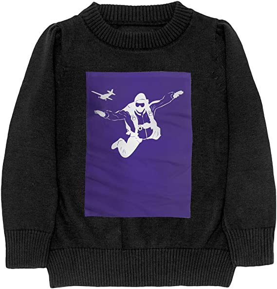 Parachute Silhouette Skydiving Cool Adolescent Boys /& Girls Unisex Sweater Keep Warm