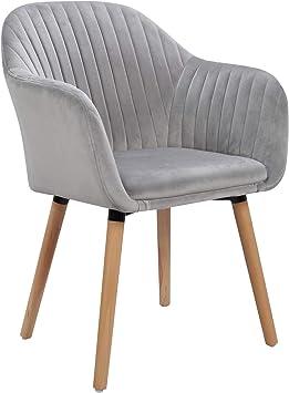 WOLTU 1 X Chaise de Salle à Manger en Velours Surface Pieds en Bois Massif,Chaise de Relax Chaise de Salon Gris Clair BH95hgr-1