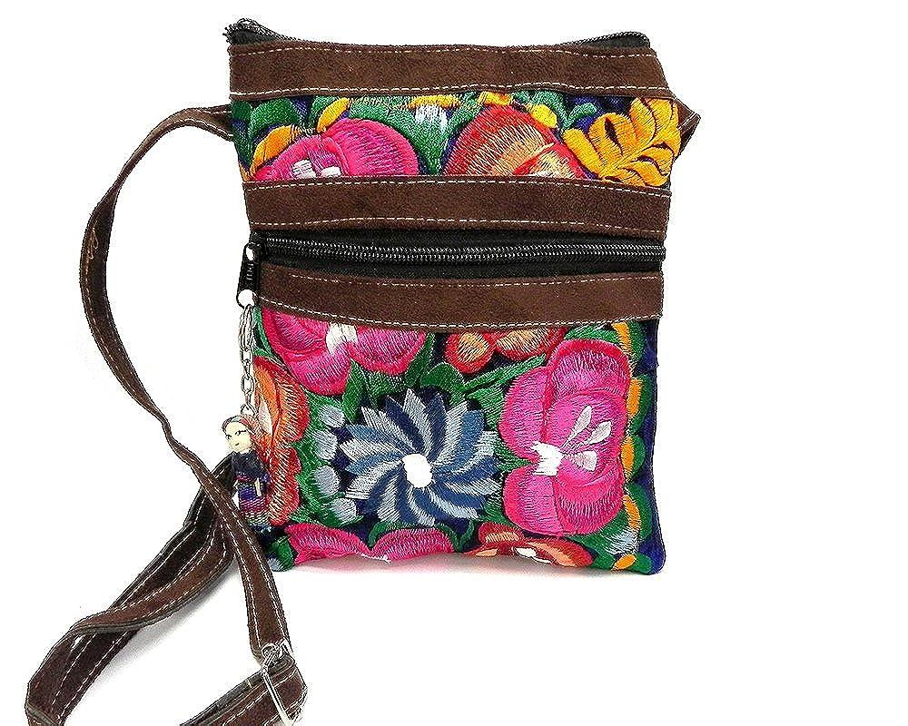 b66a2ba9629 Brown Vegan Leather Multicolored Embroidered Floral Slim Fashion Travel  Purse Zipper Worry Doll Adjustable Crossbody Strap (Blue)  Handbags   Amazon.com
