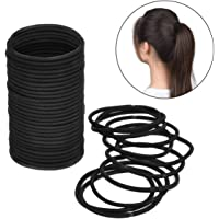 ZCOINS 100PCS Black Hair Ties for Women Medium to Thick Hair Elastics No Metal Ponytail Holders
