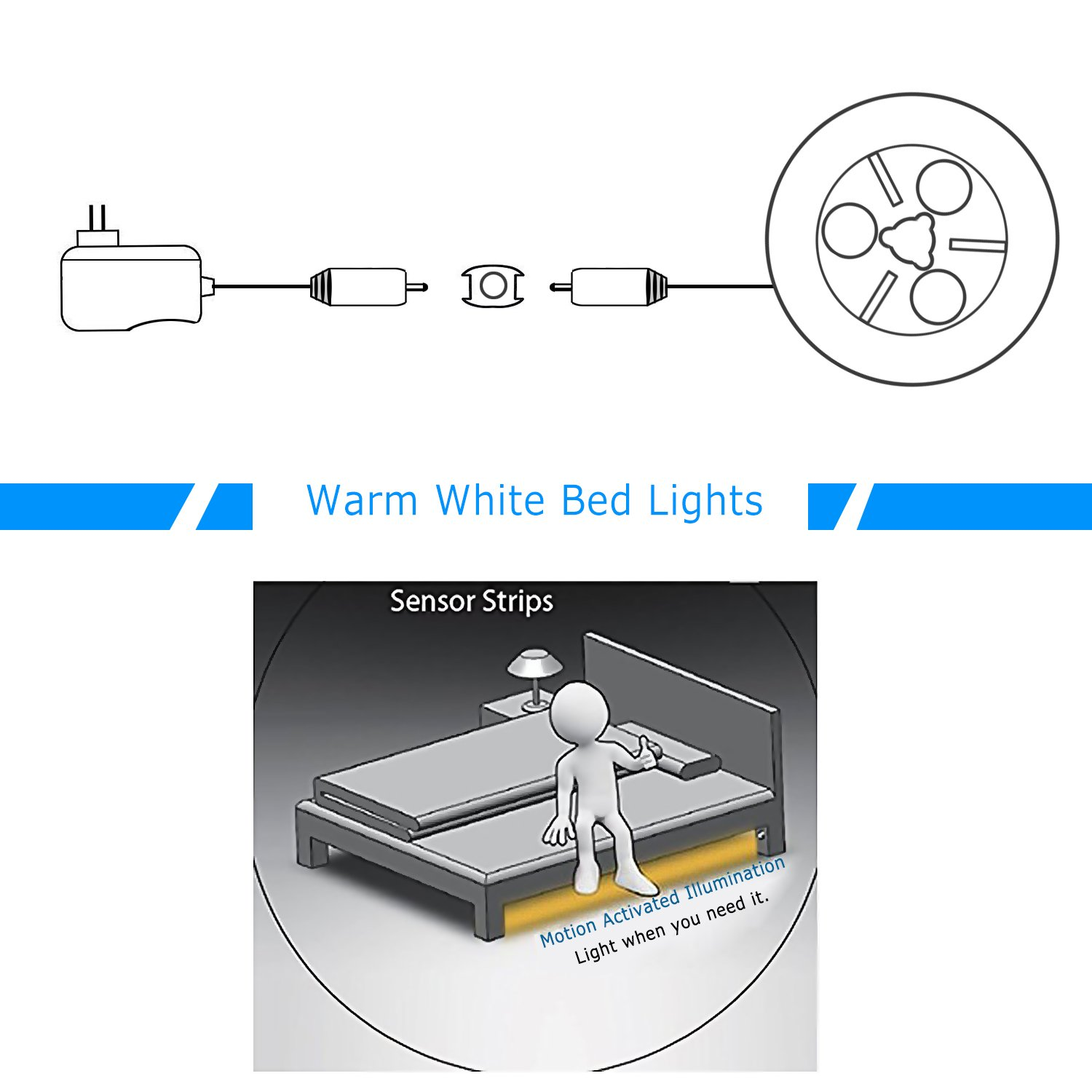 Vansky Motion Activated Bed Light Flexible Led Strip Below Diagram Shows How To Wire Dimmer The Lights Sensor Night Bedside Lamp Illumination With Automatic Shut Off Timer Warm