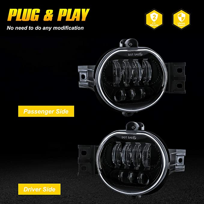 Driver and Passenger Side AAIWA 2PCS 63W Fog Lights Replacement LED Passing Lamps for 2002-2008 Dodge Ram 1500 2003-2009 Ram 2500 3500 2004-2006 Durango Truck LED Fog Light for Dodge Ram