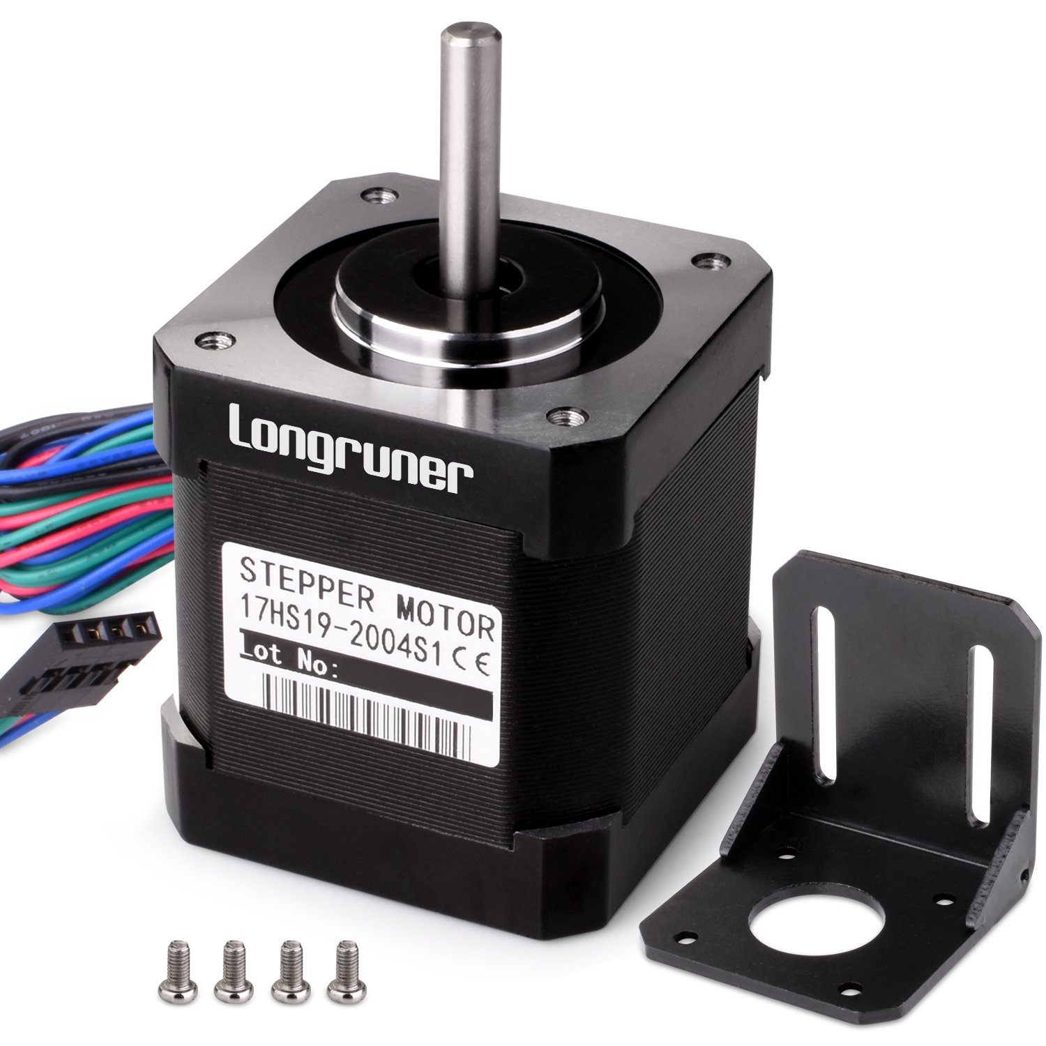 Stepper Motor, Longruner Nema 17 Bipolar 42mm 37oz.in(26Ncm) 12V 0.4A Lead 3D Printer Hobby CNC 17HS13-0404S (Stepper Motor) LQD04