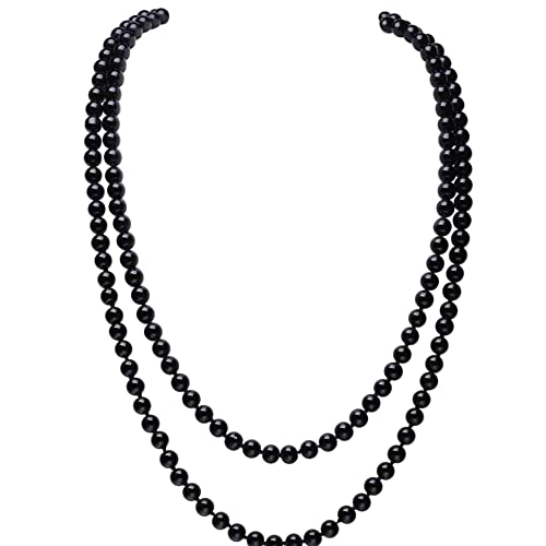 db11b66b0 BABEYOND Art Deco Fashion Faux Pearls Necklace 1920s Flapper Beads Cluster  Long Pearl Necklace for Gatsby Costume Party 59