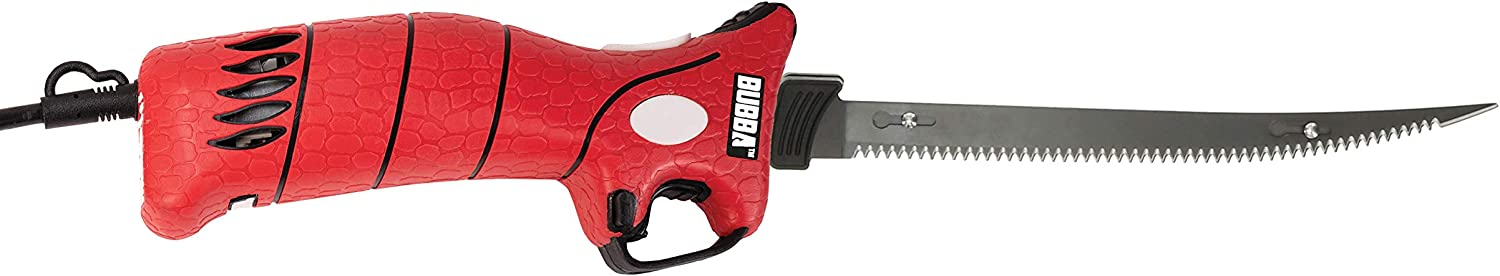 Bubba 110V Electric Fillet Knife with Non-Slip Grip Handle, 4 Ti-Nitride S.S. Coated Non-Stick Reciprocating Blades, 8' Cord and Storage Case for Fishing