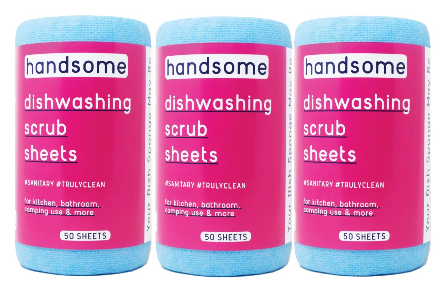 Handsome Scrub, One a Day dishwashing Sheet, Daily Disposable, 50 Day Supply, Anti-Bacterial, Non-Scratch, eco-Friendly, Recyclable scouring pad, use for Dish-Washing, Kitchen, pet, Baby dishwashing by HANDSOME