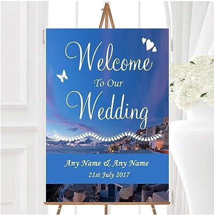 Santorini - Cartel de bienvenida para boda, diseño con texto ...