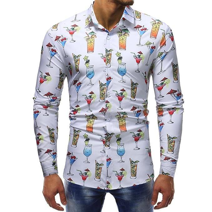Camicia Floreale Hawaiana Uomo Maniche Lunghe LandFox Slim Fit Camicie  Casual da Uomo Manica Lunga Stampa Bicchiere di Vino Miscela di Cotone  Casual Morbida ... 8bbb4ff5f32