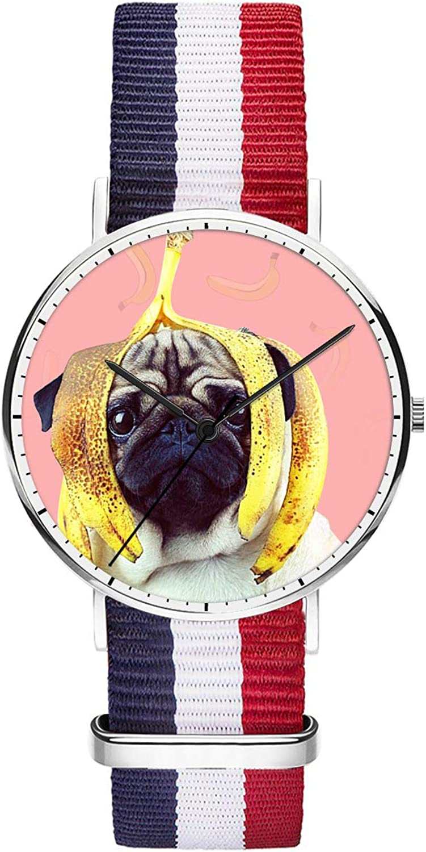 Unique Wrist Watch, Cartoon Kitten Personalized Oxford Creative Multicolor Watch Strap Modern Watch,Unisex Minimalist Stainless Steel Ultra Thin Stripe Fashion Watches for Women 36mm