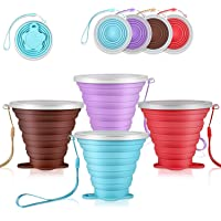 DGHH Collapsible Cups Travel Mugs Folding Camping Cups Lids Portable Drinking Cup Set- (Silicone) BPA Free