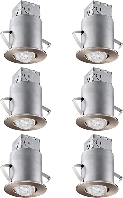 Gimbal Trim Kit UL-Listed Air Tight /& IC Housing Can Swivel White Metal Decorative Trim 120V Line Voltage GU10 Socket Included Max 35W Pack of 6 TORCHSTAR 4-inch Remodel Recessed Can