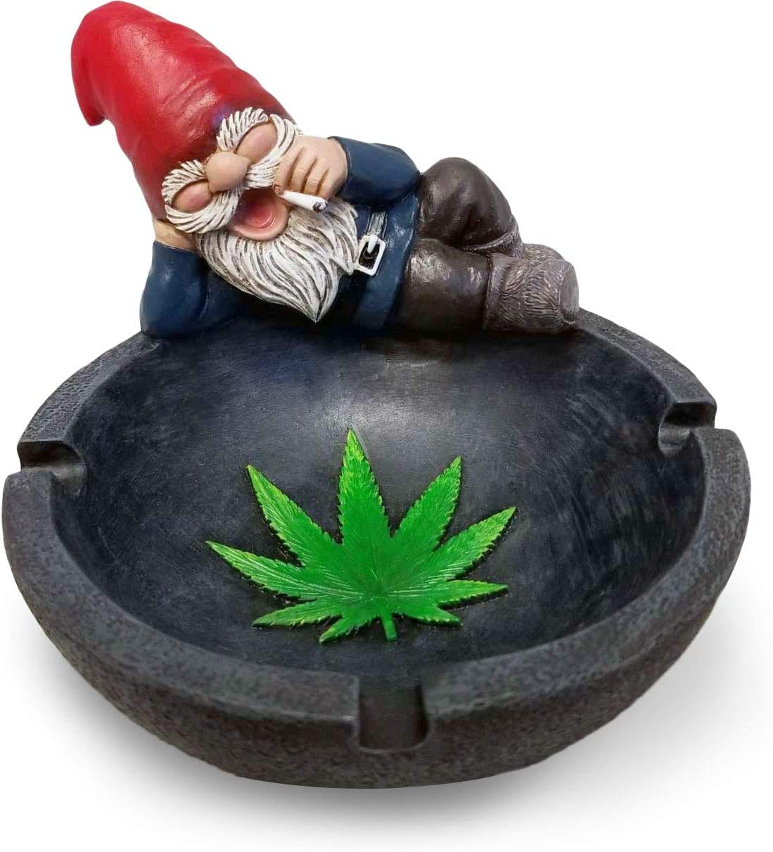 World of Wonders - Gnaughty Gnomes Series - Smokin' Good Time - Collectible Stoner Gnome with Joint Ashtray Embossed Cannabis Pot Leaf Accent Smoking Accessory 420 Home Decor Bar Accent, 4.75-inch