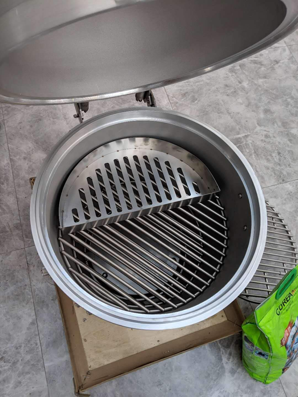 Half Moon Searing Tray Charcoal Basket for Char-Griller Akorn Kamado, Blaze Grill Kamado, Pit Boss 24, and Many Large Kamado Grills by BBQube