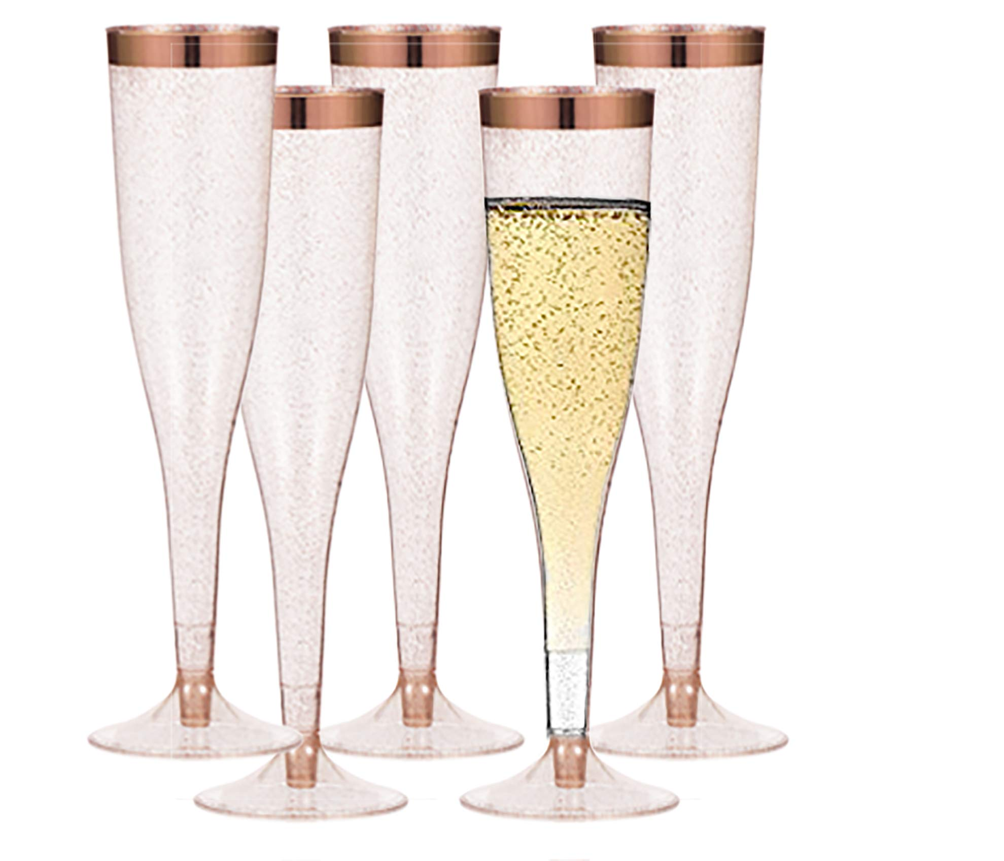 Rose Gold Plastic Champagne Flutes - 50-Pcs, Rose Gold Glitter, 6.5 Oz Heavy Duty Wine Glass, Clear Plastic Toasting Glasses, Rose Gold Rim Champagne Flutes, Plastic Wine Glasses for Parties