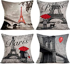 "Paris Pillow Covers Cotton Linen Vintage France Street Red Umbrella Eiffel Tower Throw Pillow Cases European Bridge Capital City Style Print Cushion Cover Home Sofa Decor 18""x18"" Set of 4 (Paris Set)"