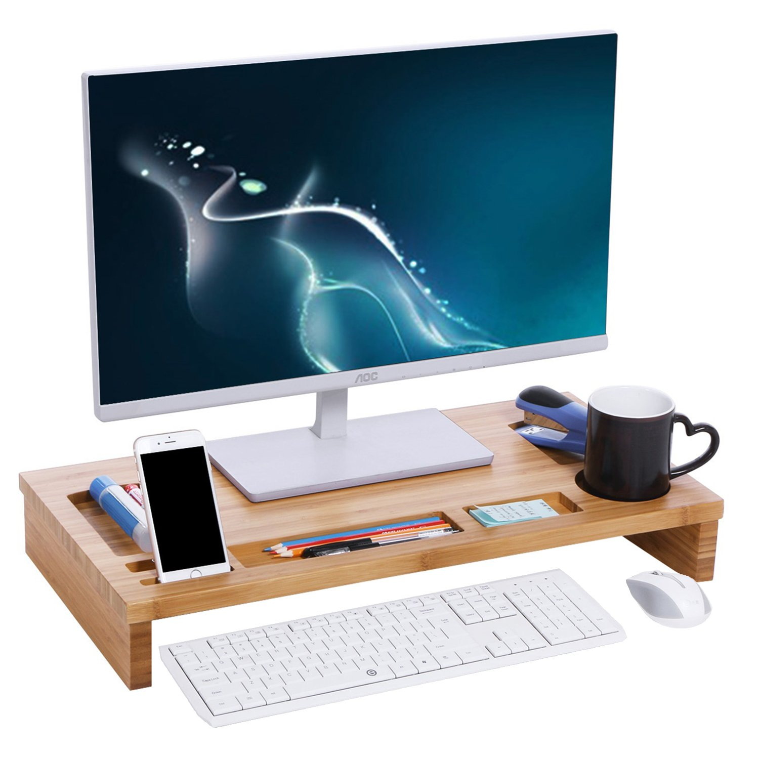 BEWISHOME Bamboo Monitor Stand, Computer Desktop Organizers, Laptop/iMac/Computer/PC Screen Stand, TV Monitor Stands Riser Shelf with Adjustable Storage Organizer Natural Bamboo KDZ01Y