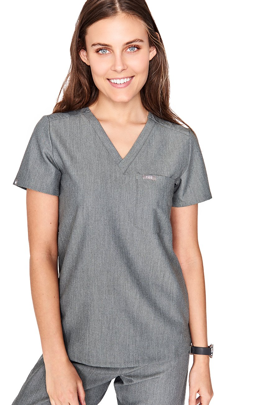 FIGS Medical Scrubs Women's Catarina one-Pocket Scrub top (Graphite, M)