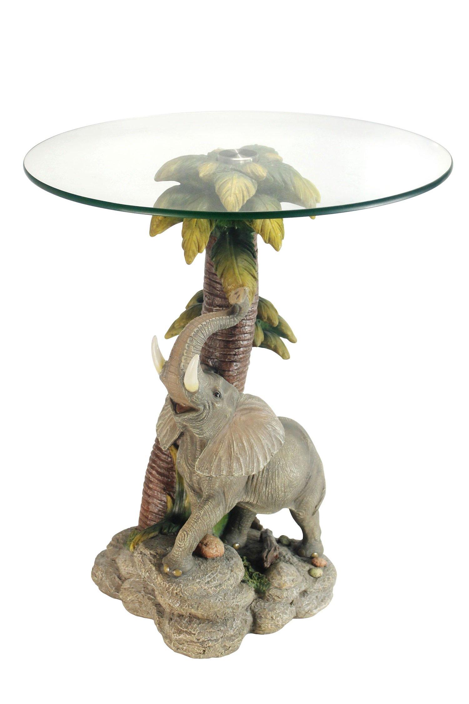 OK Lighting OK-0728N Animal Sculpture End Table 24'' H Glass Top Color Sculpture End Table - Elephant