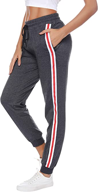 Amazon.com : Sykooria Women's Active Sweatpants Striped with Pocket Long  Sports Jogger Pants Yoga Running Workout Bottoms : Clothing