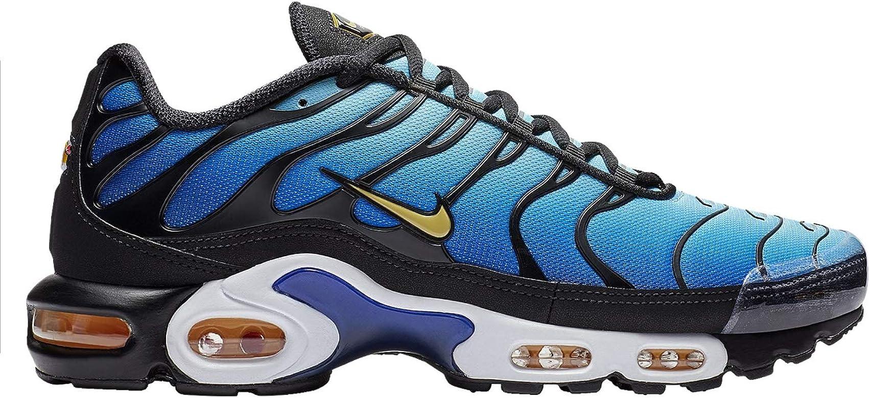 78a846f531205 Men's Air Max Plus Black/Chamois/Sky Blue/Hyper Blue Mesh Running Shoes 12  M US
