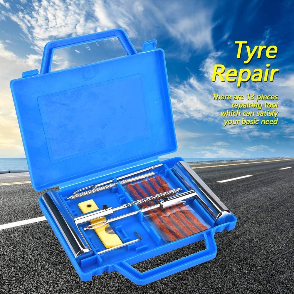 Wacent Reifenreparatursatz Reifenreparatursatz 13-teilig Reifenreparatursatz Reifenreparatur-Werkzeugsatz f/ür Automobile Motorr/äder mit Box