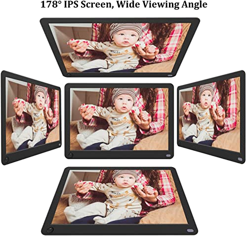 MRQ 14 Inch Full HD Digital Photo Frame Native 1080P High-Resolution IPS Screen, Digital Picture Frame with 180 Viewing Angle, Motion Sensor, Auto-Rotate, Display Photos Via SD, USB