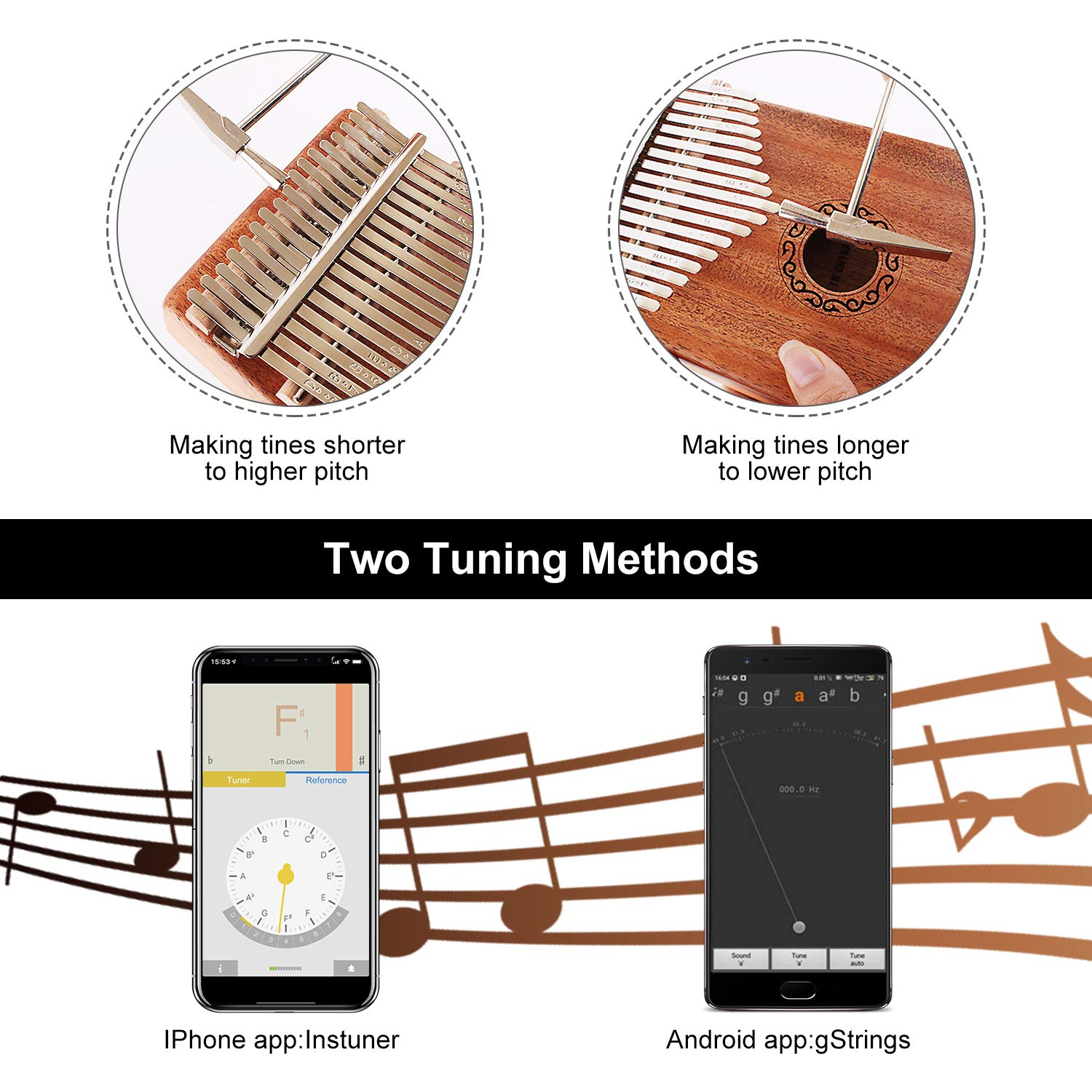 CXhome Electric Kalimba 17 Key Thumb Piano,Mbira African Mahogany Finger Piano Pickup with 6.35mm Audio Interface Sanza Hand Kit, Likembe Musical Instruments for beginners or professioners by CXhome (Image #2)