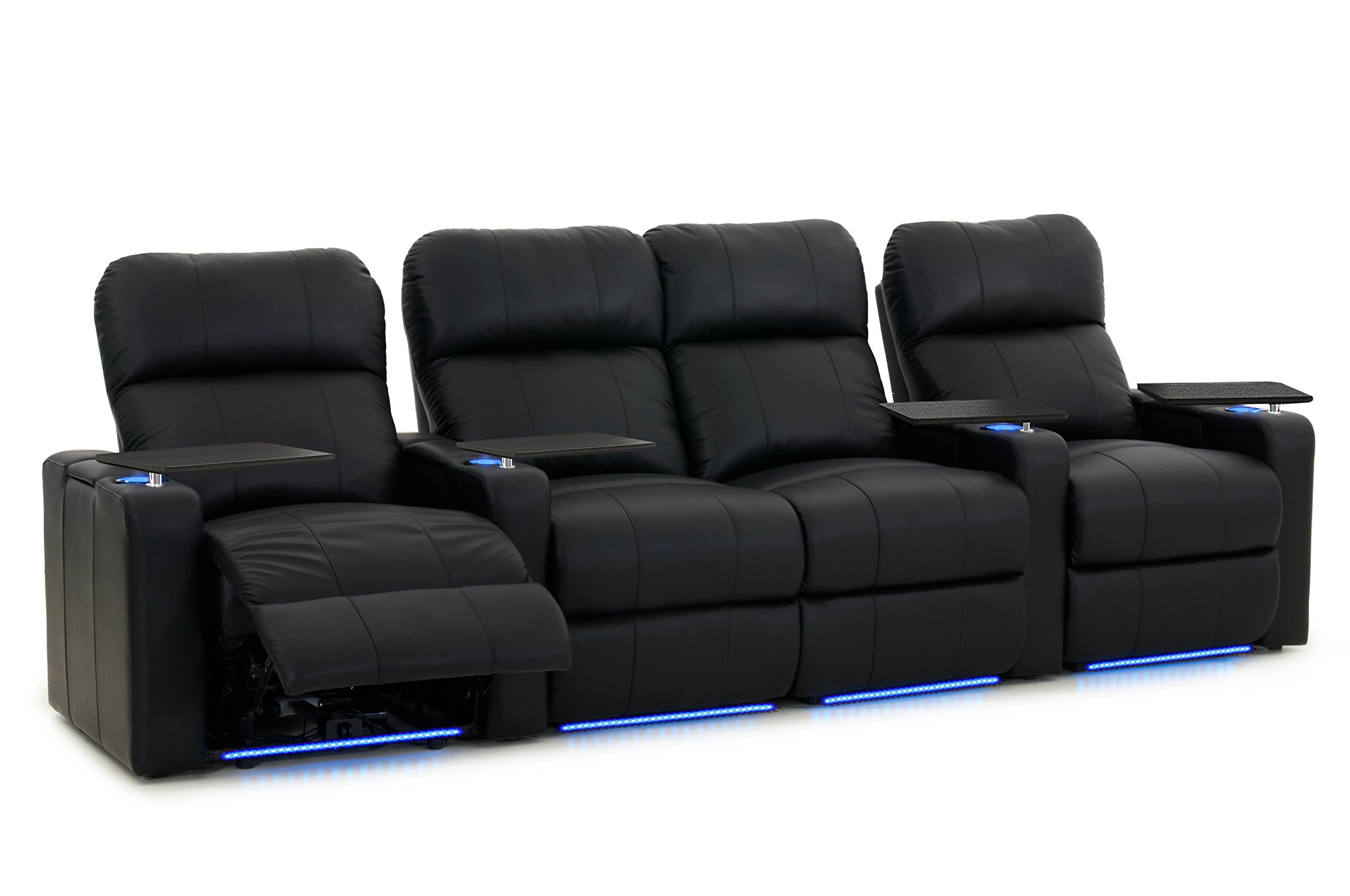 Turbo XL700 Home Theater Seats - Octane Seating - Black Bonded Leather - Power Recline - Straight Row of 4 Theater Seats with Middle Loveseat - Lights - Storage Arms