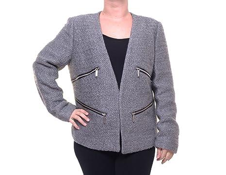 86a6d1ae8768 Michael Kors Womens Open-Front Moto Blazer Jacket Grey 14 at Amazon Women's  Clothing store: