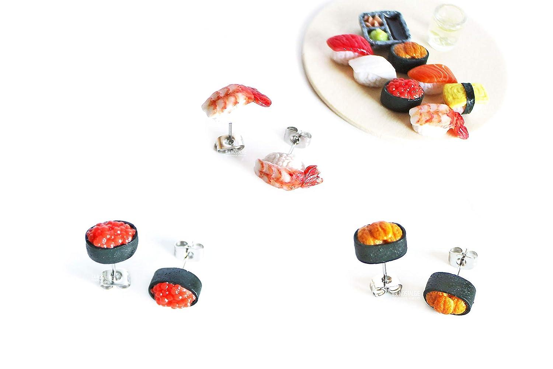 Asymmetric earrings pendant Japanese sushi roll soy sauce in laser-carved plexiglass
