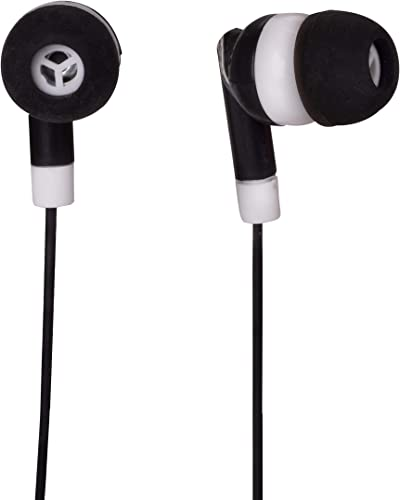 JustJamz Dot Basic Headphones Black in-Ear Earbud Headphones 3.5 MM Earphones for Apple Android Laptop PC Mac, Ideal for Students Kids Classroom, 100 Pack