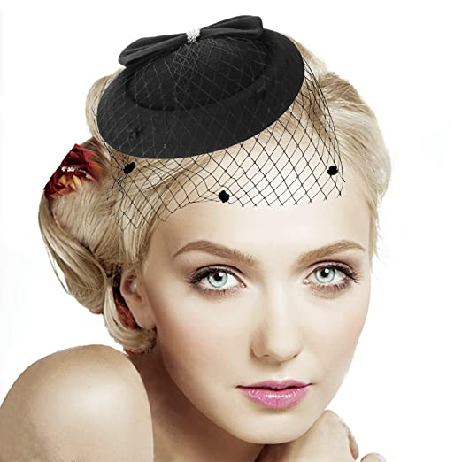 9dff4fe68eb Legnaus Fascinators for Women Feather Fascinator Hats Women s Pillbox Hat  for Wedding Church Deryby Tea Party