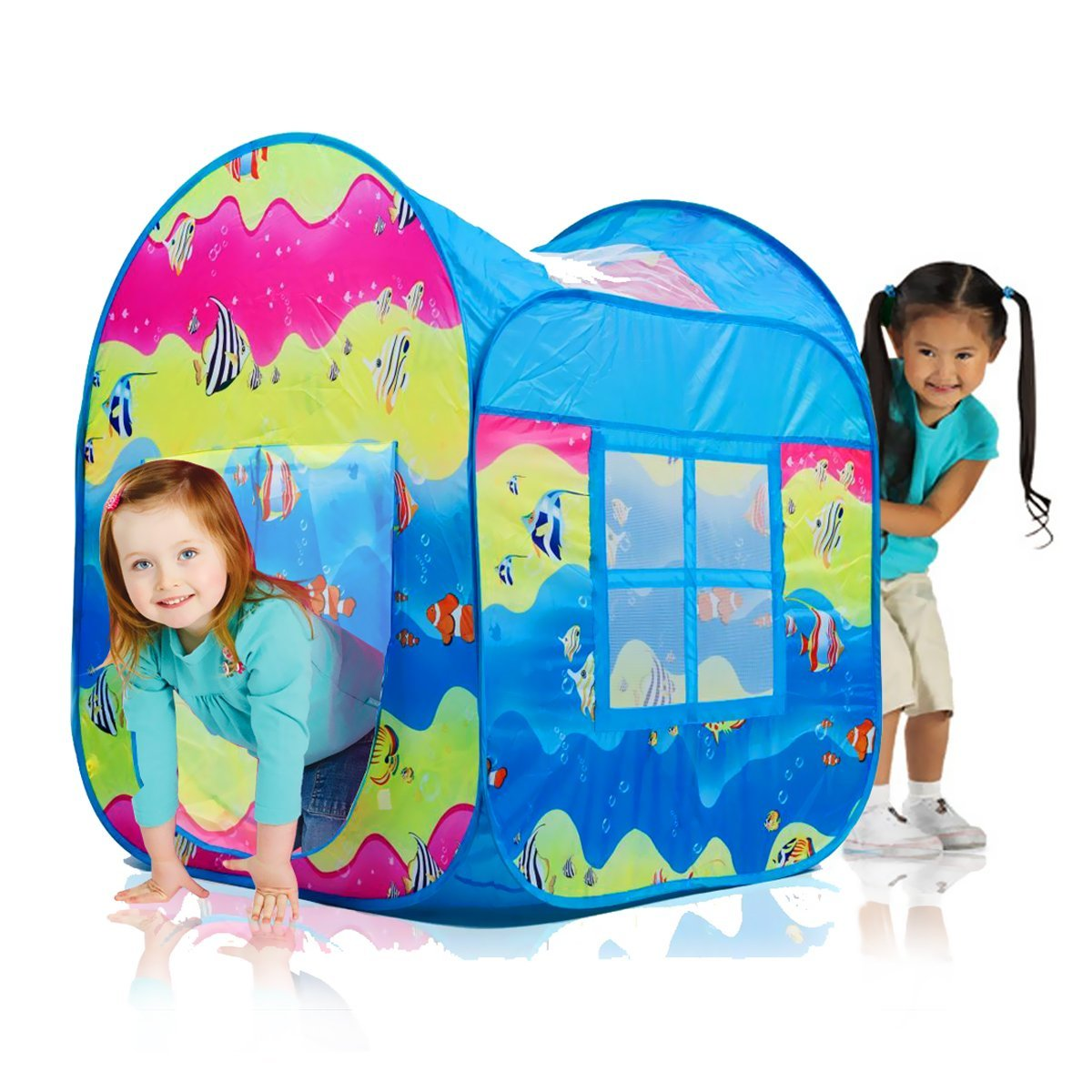 Indoor & Outdoor Pop Up Play Tent in Fun Underwater Design w/ Mesh Windows, Great for Boosting Creativity & Educational Fun, By Dimple DimpleChild DC11639