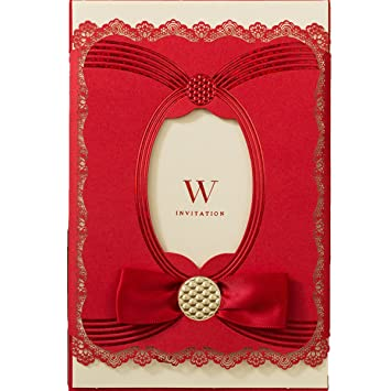 kln_dress 50pcs red traditional wedding party invitations cards set for marriage engagement bridal shower laser cut