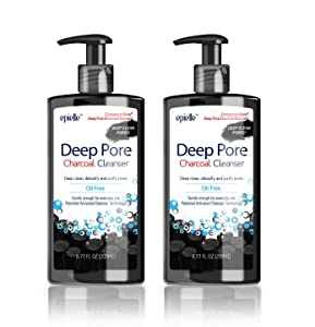 Epielle Deep Pore Charcoal Cleanser | Detoxify and Purify Skin | Oil-Free Cleanser | Energizes Skin with Activated Charcoal | Holiday Beauty Gifts | 6.77 Fl Oz | 2-Pack