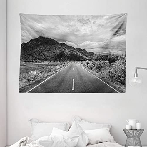 Ambesonne Landscape Tapestry, Black and White Photo of The Road Leading to a Mountain Monochrome Panorama, Wide Wall Hanging for Bedroom Living Room Dorm, 80 X 60 , Grey