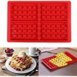 Syga 4 Cavity Waffle Silicone Mold Cake Chocolate Craft Candy Soap Baking Mold
