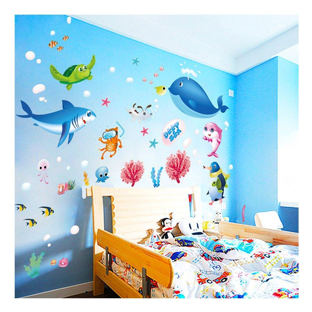 Amazon Com 1 X Undersea Big Shark Baby S Bedroom Wall