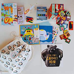 BOX FOR MONKEYS, premium kids activity pack, school holiday activities, home or travel bundle for children ages 3 to 5 years, sticker picture kit, chunky markers, animal build and colour kit, fun animal duo puzzle and a book.