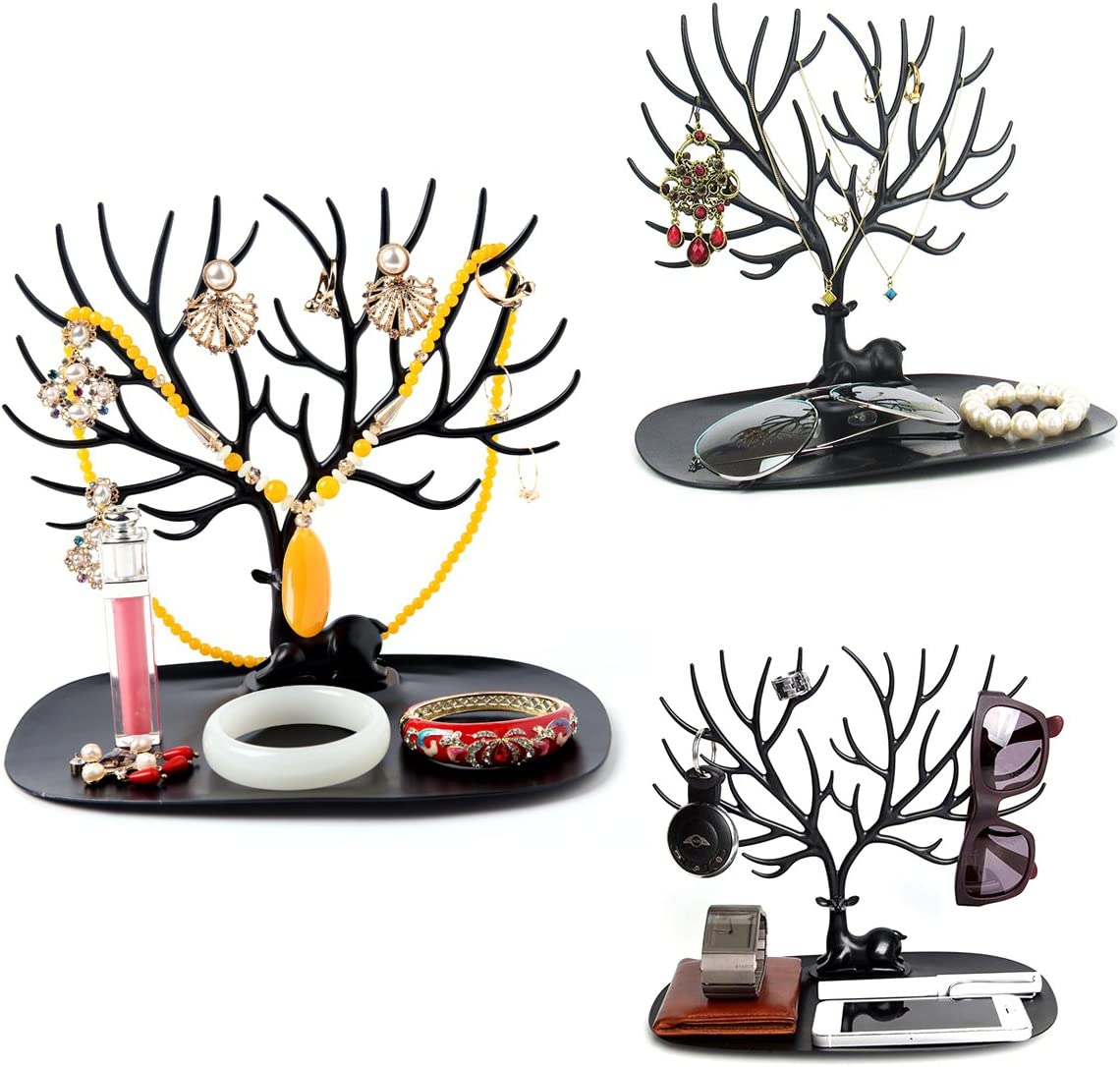 NUOLUX Portabracciali e collane decorativo di design corna di cervo ramificate Organizzatore gioielli stand portagioie nero