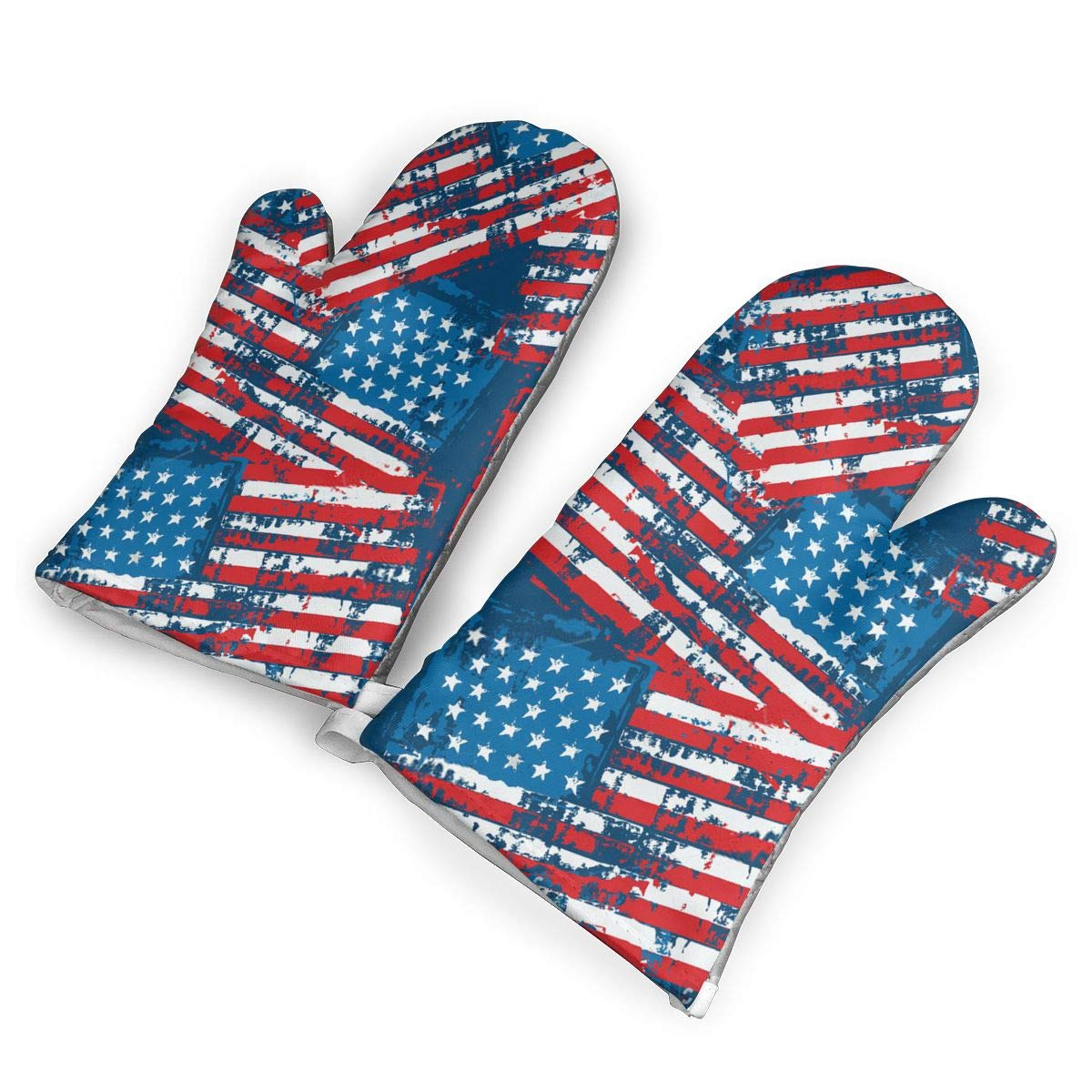 American Flag Patriotic Premium Oven Mitts, Professional Heat Resistant Microwave BBQ Oven Insulation Thickening Cotton Gloves Baking Pot Mitts with Soft Inner Lining